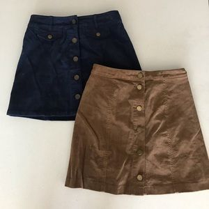 Corduroy button up skirts